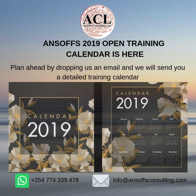 ANSOFFS OPEN 2019 TRAINING CALENDAR social media